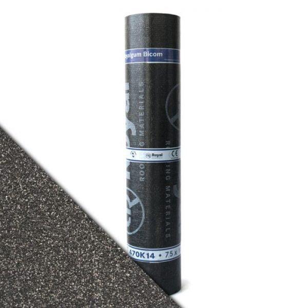 """Royalgum Bicom is een APP gemodificeerde gebitumineerde dakbaan met een """"Sand"""" afwerking aan de bovenzijde"""