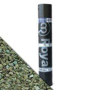 """Royalgum Bicom is een APP gemodificeerde gebitumineerde dakbaan met een afwerking aan de bovenzijde van """"Green"""" leislag"""