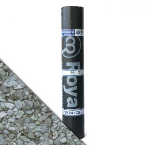"""Royalgum Bicom is een APP gemodificeerde gebitumineerde dakbaan met een afwerking aan de bovenzijde van """"Natural Grey"""" leislag"""