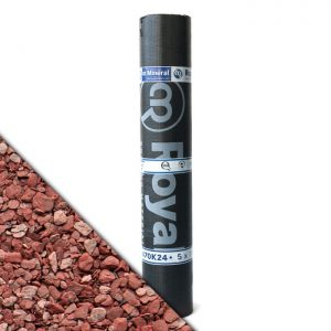 """Royalgum Bicom is een APP gemodificeerde gebitumineerde dakbaan met een afwerking aan de bovenzijde van """"Red"""" leislag"""
