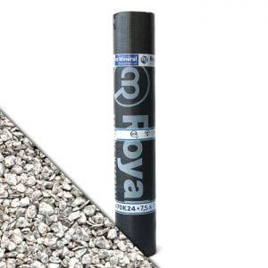 Royalgum Bicom Mineral Reflection is een APP gemodificeerde gebitumineerde dakbaan met een reflecterende afwerking aan de bovenzijde